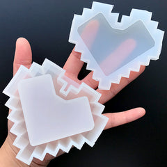 Pixel Heart Storage Box Silicone Mold | Home Decor Item DIY | Jewelry Trinket Box Mould | Resin Mold Supplies (88mm x 80mm)