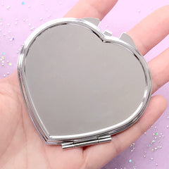Heart Compact Mirror | Folding Hand Held Mirror | Kawaii Makeup Mirror Case | Resin Accessory DIY (Silver / 7cm)