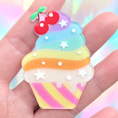 Kawaii Cupcake Cabochon with Glitter | Acrylic Decoden Piece | Sweets Deco | Toddler Jewelry Making (1 piece / 40mm x 56mm)
