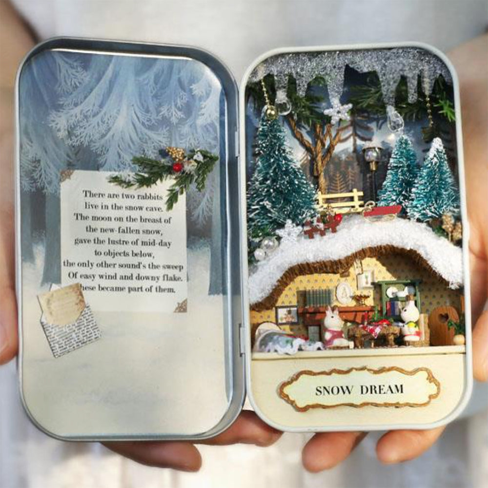 Miniature Box Theatre in 1:24 Scale | Snow Dream | Christmas Dollhouse Craft Kit | Doll House DIY Supplies