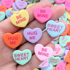 Sweethearts Cabochons | Conversation Heart Decoden Cabochon | Fake Sugar Candy | Kawaii Sweet Deco (4 pcs by Random / 21mm x 17mm)