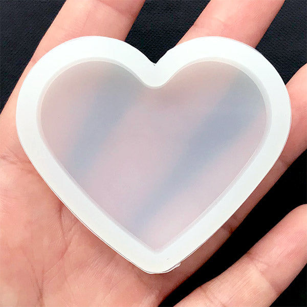Heart Soft Mold | Clear Mold for UV Resin | Epoxy Resin Mould | Decoden Cabochon Mold | Wedding Craft Supplies (51mm x 43mm)