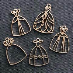 Princess Dress Open Bezel | Prom Dress Charm | Ball Gown Pendant | Evening Dress Deco Frame for UV Resin Filling (5 pcs / Gold)