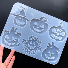 Halloween Pumpkin Silicone Mold Assortment for Resin Art (6 Cavity) | Halloween Party Decoration | Halloween Ornament DIY