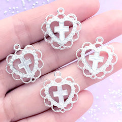 Lolita Heart and Cross Charm | Heart Pendant with Decorative Lace Border | Kawaii Jewellery Supplies (4 pcs / Silver / 20mm x 21mm)