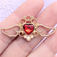 Winged Heart Open Bezel with Rhinestone and Pearl | Magical Angel Wing Charm | UV Resin Jewelry (1 piece / Red and Gold / 41mm x 19mm)