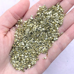 Crushed Glass Stone Sprinkles | Metallic Glitter Flakes | Filling Materials for Resin Crafts | Nail Decoration (Olive Gold / 10 grams)
