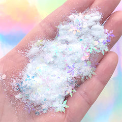 Iridescent Snowy Glitter Mix | Snowflake Round Dot Confetti and Glitter Powder | Filling Materials for Resin Art (Clear White / 2 grams)