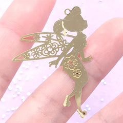 Sakura Fairy Metal Bookmark Charm | Fairytale Embellishment for UV Resin Jewelry Making | Resin Inclusion (1 piece / 30mm x 41mm)