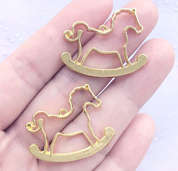 DEFECT Rocking Horse Open Bezel Charm | Kawaii Deco Frame for UV Resin Filling | Resin Jewellery Making (2 pcs / Gold / 30mm x 25mm)