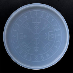 Vegvisir Norse Wheel of the Year Silicone Mold | Viking Compass Mould | Runic Wheel Coaster Mold with Engraved Rune Symbols (112mm)