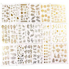 Water Transfer Sticker in Gold Foil Color (Set of 20 Sheets) | Clear Film for Resin Craft | Star Floral Geometry Animal Abstract Embellishments