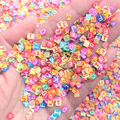 Alphabet Polymer Clay Cane Slices | Initial Letter Fimo Cane | Colorful Embellishments for Resin Craft (250-300pcs by Random)
