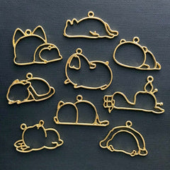Sleeping Animal Open Bezel Assortment | Resin Jewelry Supplies | Kawaii Deco Frame for UV Resin Filling (9 pcs / Gold)
