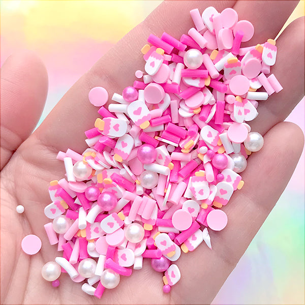 Fake Cake Sprinkles with Sugar Pearls for Faux Food Craft | Kawaii Sweets Deco | Resin Shaker Charm DIY (Mix / 10 grams)