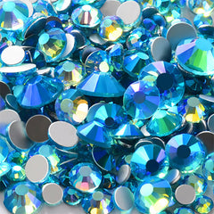 Round Glass Rhinestones | Assorted Faceted Crystal Rhinestones | Bling Bling Decoration | Nail Art Supplies (AB Aqua Blue / SS4 to SS20 / Around 300 pcs)