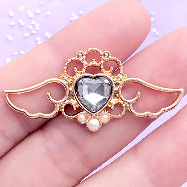 Heart Rhinestone with Angel Wings Open Bezel for UV Resin | Magical Charm | Winged Heart Pendant (1 piece / Clear & Gold / 41mm x 19mm)