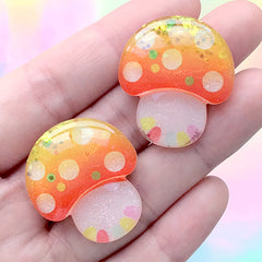 Magical Mushroom Cabochon with Glitter | Fairytale Decoden Pieces | Kawaii Craft Supplies (2 pcs / 26mm x 30mm)