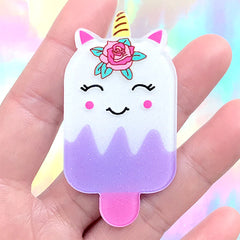 Unicorn Popsicle Acrylic Cabochon with Glitter | Kawaii Sweet Deco | Decoden Embellishment | Cute Brooch Making (1 piece / 32mm x 61mm)