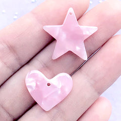 Marble Heart and Star Acetate Charm | Cute Acetic Acid Pendant | Faux Opal Jewelry DIY (2 pcs / Pink)