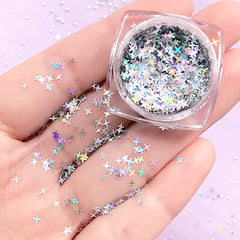 Holographic Cross Star Confetti | Iridescent Glitter | Aurora Borealis Star Flakes | Filling Materials for Resin Crafts (AB Silver / 2.5mm)