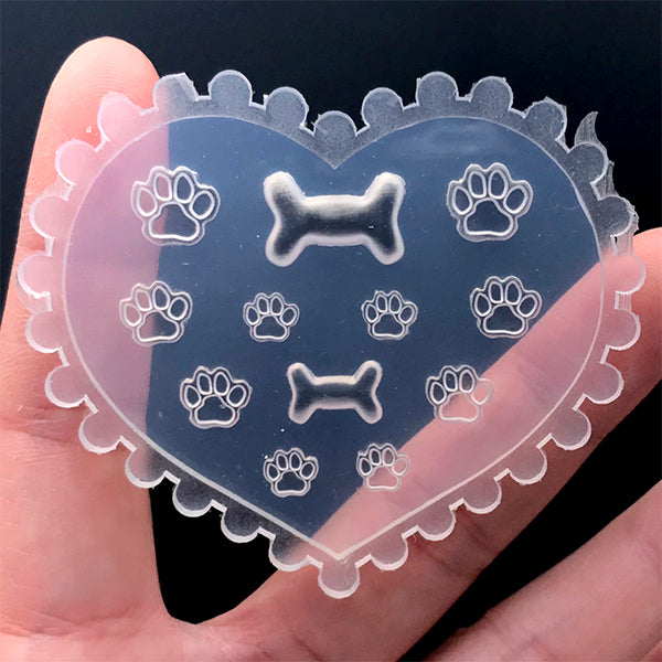 Mini Paw and Bone Silicone Mold (12 Cavity) | Resin Shaker Bits DIY | Tiny Animal Embellishment Mould | Resin Jewelry Supplies