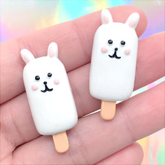 Bunny Popsicle Cabochons | Animal Cakesicle Embellishments | Kawaii Food Jewelry Making | Decoden Supplies (2 pcs / 15mm x 36mm)