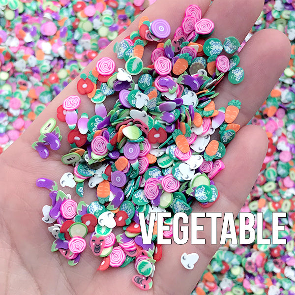 Vegetable Polymer Clay Cane Slices | Veggie Fimo Cane Supplies | Dollhouse Food | Miniature Craft (250-300pcs by Random)