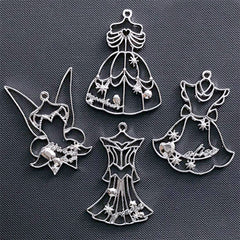 Kawaii Princess Dress Open Bezel | Beauty Princess Charm | Alice in Wonderland Pendant | Fairytale Deco Frame for UV Resin Filling (4 pcs / Silver)