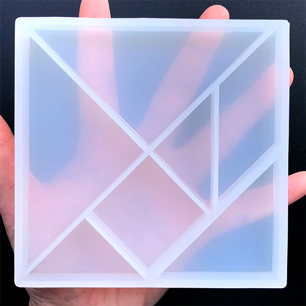 Tangram Silicone Mold (7 Cavity) | Puzzle Game DIY | Square Triangle Parallelogram Mould | Resin Craft Supplies (105mm x 105mm)