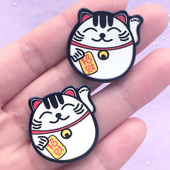 Beckoning Cat Acrylic Cabochons | Lucky Cat Embellishments | Maneki Neko Decoden | Scrapbooking Supplies (2 pcs / 27mm x 27mm)