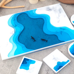 Beach Coaster Silicone Mold | Large Rectangle Seashore Landscape Coaster Mould | Coastline Coaster Making (240mm x 365mm)