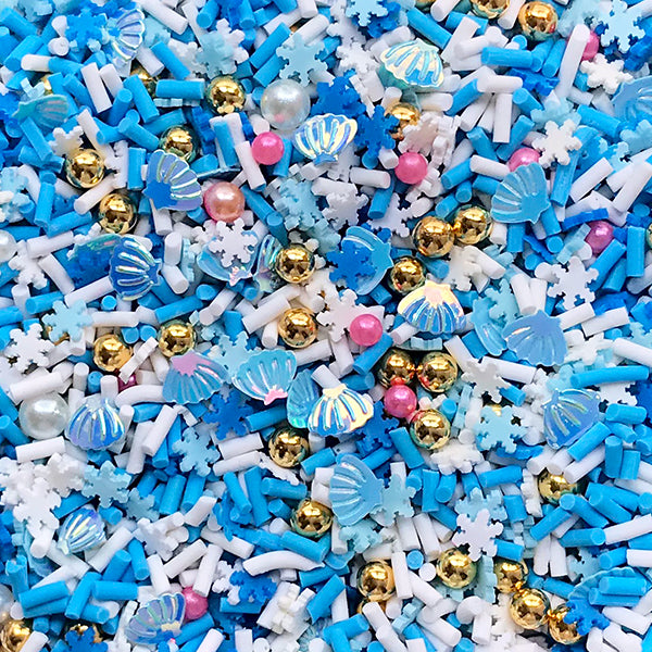 Mermaid and Snowflake Sprinkles with Sugar Pearls and Dragee for Fake Food Making | Faux Toppings | Kawaii Sweet Deco (Mix / 10 grams)
