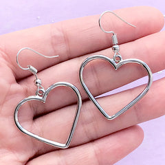 Drop Earrings with Heart Open Bezel for UV Resin Filling | Kawaii Jewellery with Heart Deco Frame (1 pair / Silver / 28mm x 25mm)