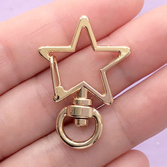 Star Lanyard Hook with Swivel Ring | Kawaii Lobster Clasp | Keychain Snap Clip | Bag Charm Making (1 piece / Gold / 24mm x 35mm)