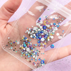 Rainbow Glass Rhinestones | Faceted Round Rhinestones | Sparkle Decoration | Decoden Supplies (AB Blue Rainbow / SS4 to SS20 / Around 300 pcs)