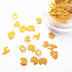Halloween Resin Inclusions | Creepy Cute Resin Art | Kawaii Ghost Pumpkin Spider Web Witch Hat Embellishments | Nail Charms (around 50 pcs)