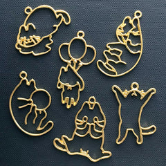 Kawaii Cat Open Bezel Assortment for UV Resin Jewelry DIY | Animal Pet Charm | Cute Kitty Deco Frame for Resin Filling (6 pcs / Gold)