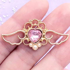 Kawaii Angel Wings with Heart Rhinestone Open Bezel | Winged Heart Charm | UV Resin Jewellery DIY (1 piece / Light Pink & Gold / 41mm x 19mm)