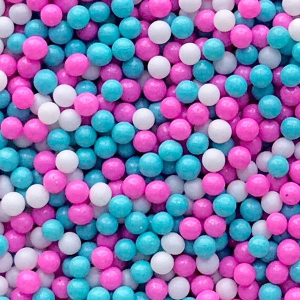 Dollhouse Miniature Bubblegum | Faux Sugar Pearl Toppings | Fake Dragee Sprinkles | Mini Doll Food DIY (Blue Purple White / 7g)