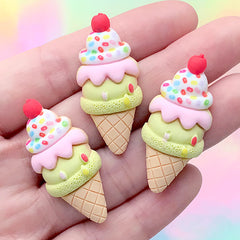 Ice Cream Decoden Cabochons | Kawaii Sweet Deco | Cute Resin Embellishments (3 pcs / 17mm x 38mm)