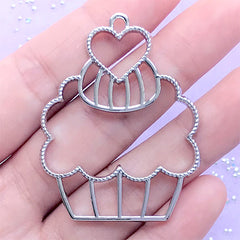 Cupcake Open Bezel for UV Resin Jewelry DIY | Sweet Dessert Charm | Kawaii Deco Frame for Resin Filling (1 piece / Silver / 37mm x 48mm)