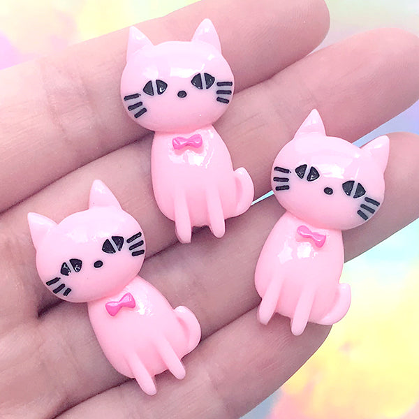 Kitty Decoden Cabochon | Kawaii Cat Resin Embellishment | Phone Case Decoration | Cute Jewelry DIY (3 pcs / Pink / 18mm x 31mm)