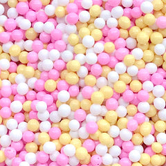 Miniature Bubblegum | Dollhouse Gumball | Fake Sugar Pearl Sprinkles | Doll House Dragee Toppings for Faux Food DIY (Yellow Pink White / 7g)