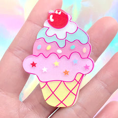 Kawaii Acrylic Cabochon | Glittery Ice Cream Embellishment | Hair Bow Center | Sweet Decoden Supplies (1 piece / 40mm x 55mm)