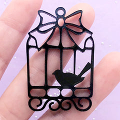 Kawaii Bird Cage Open Bezel for UV Resin | Black Acrylic Deco Frame | Kawaii Jewellery Supplies (1 piece / Black / 32mm x 49mm / 2 Sided)
