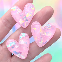 Heart Decoden Cabochon with Iridescent Glitter | Kawaii Phone Case DIY | Resin Embellishment Supplies (3 pcs / Pink / 27mm x 27mm)