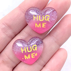 DEFECT Hug Me Heart Cabochons with Glitter | Glittery Resin Cabochon | Kawaii Decoden Supplies (2 pcs / 23mm x 20mm)