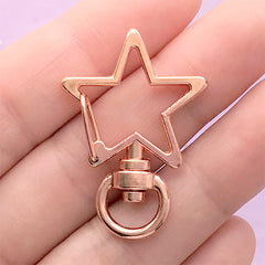Star Snap Clip with Swivel Ring | Kawaii Lanyard Hook | Lobster Claw | Keychain DIY | Jewelry Findings (1 piece / Rose Gold / 24mm x 35mm)