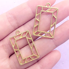Geometric Open Bezel Charm | Rectangle Pendant | Rectangular Deco Frame for UV Resin Filling (2 pcs / Gold / 18mm x 28mm)